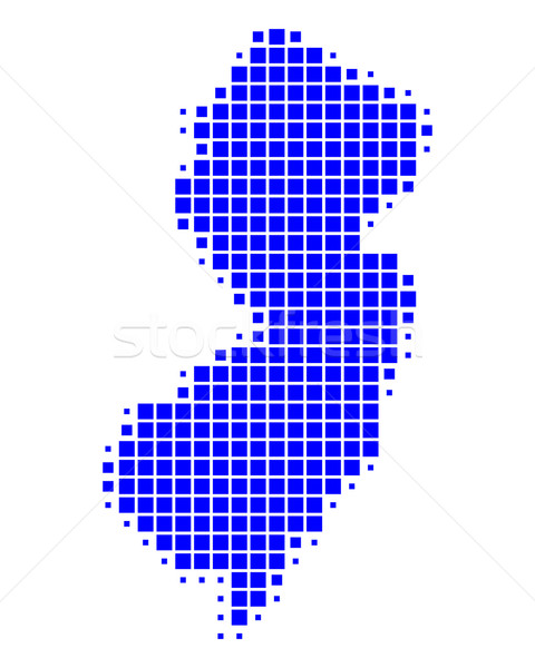 Сток-фото: карта · Нью-Джерси · синий · шаблон · Америки · квадратный