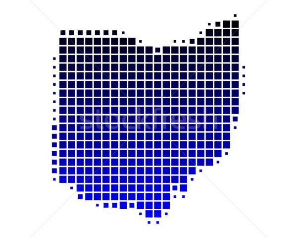 Mapa Ohio azul padrão américa praça Foto stock © rbiedermann