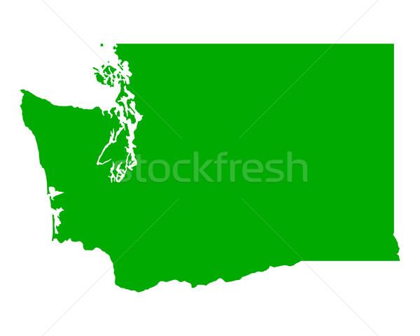 Térkép Washington zöld utazás Amerika USA Stock fotó © rbiedermann