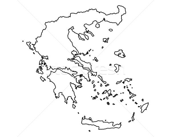 карта Греция вектора изолированный серый Сток-фото © rbiedermann