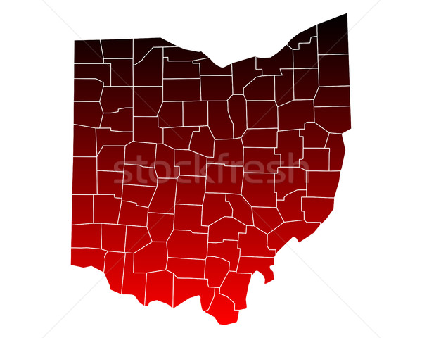Kaart Ohio reizen Rood USA geïsoleerd Stockfoto © rbiedermann