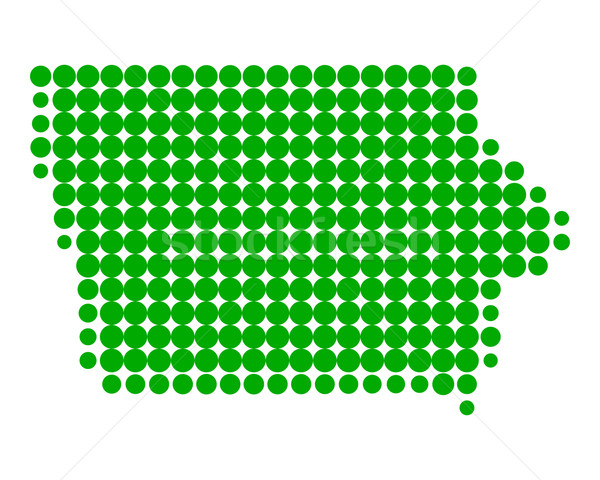 Térkép Iowa zöld minta Amerika kör Stock fotó © rbiedermann