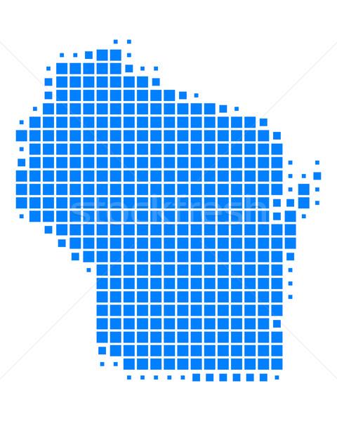 Carte Wisconsin bleu modèle USA carré Photo stock © rbiedermann