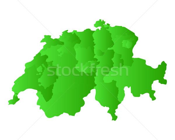 Kaart Zwitserland groene vector geïsoleerd illustratie Stockfoto © rbiedermann