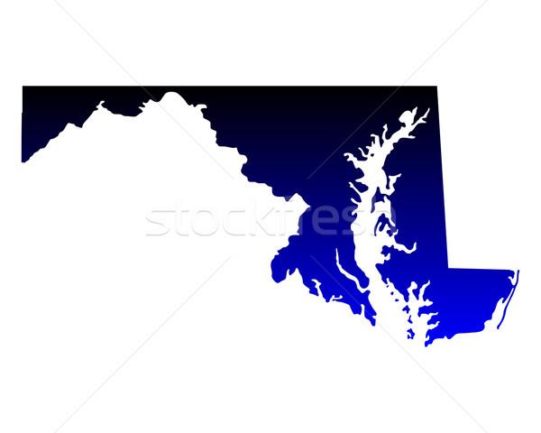 Stock fotó: Térkép · Maryland · kék · utazás · Amerika · USA