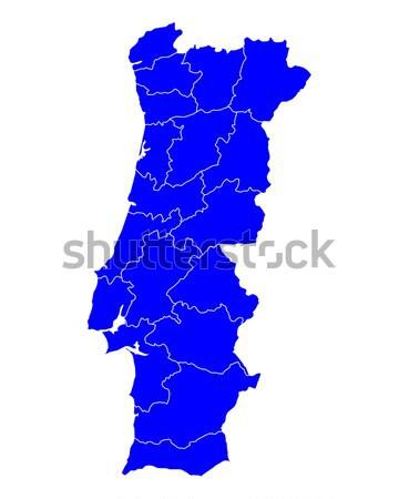 Kaart Portugal Blauw reizen geïsoleerd illustratie Stockfoto © rbiedermann