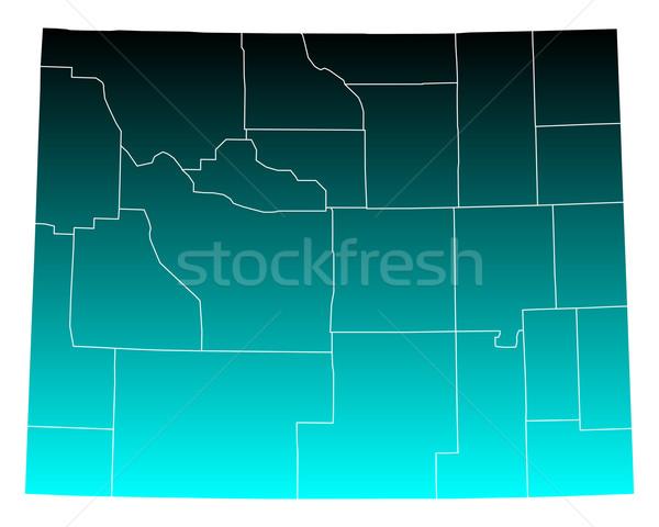 Mapa Wyoming verde azul viaje EUA Foto stock © rbiedermann