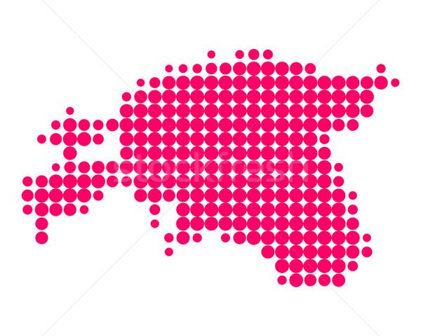Kaart Estland patroon paars cirkel punt Stockfoto © rbiedermann