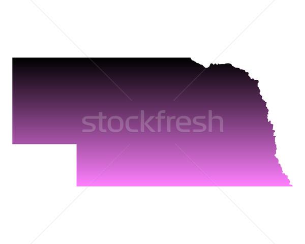 Térkép Nebraska utazás rózsaszín Amerika USA Stock fotó © rbiedermann
