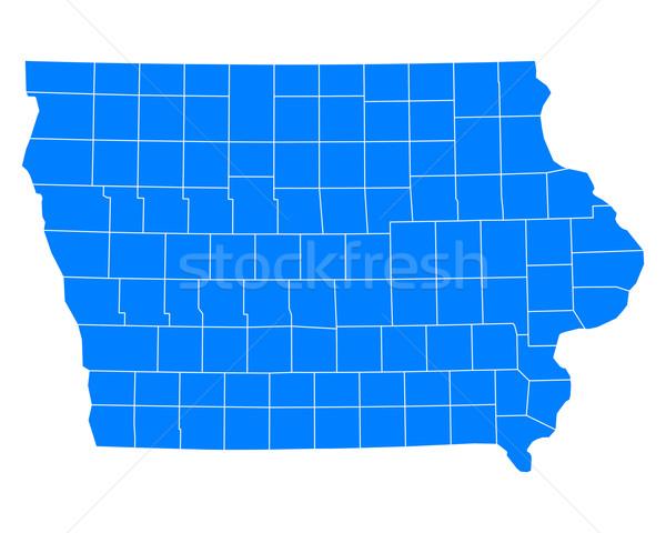 карта Айова фон синий линия вектора Сток-фото © rbiedermann