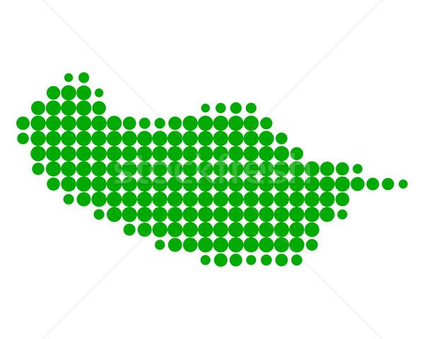 Térkép Madeira zöld minta kör pont Stock fotó © rbiedermann
