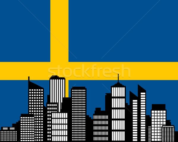 Città bandiera Svezia costruzione panorama skyline Foto d'archivio © rbiedermann
