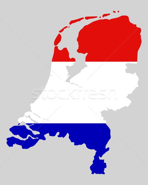 Stok fotoğraf: Harita · bayrak · Hollanda · arka · plan · mavi · seyahat