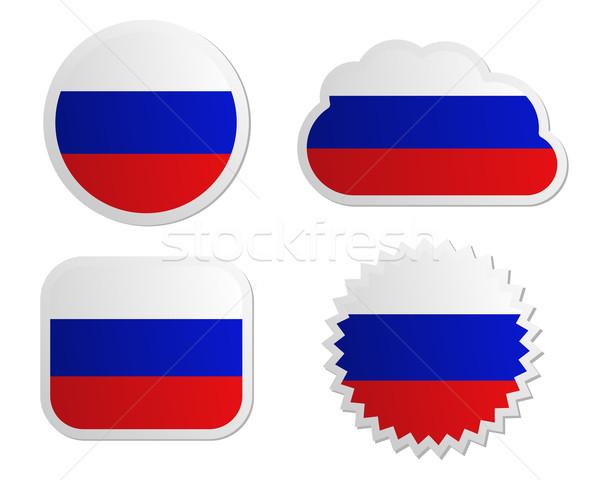 Сток-фото: Россия · флаг · Этикетки · бумаги · дизайна · знак