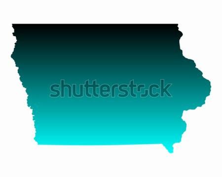 Stok fotoğraf: Harita · Iowa · yeşil · mavi · seyahat · Amerika