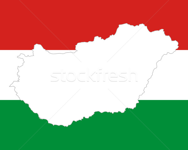 Foto stock: Mapa · bandeira · Hungria · fundo · viajar