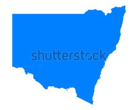 Kaart new south wales Blauw vector Australië geïsoleerd Stockfoto © rbiedermann