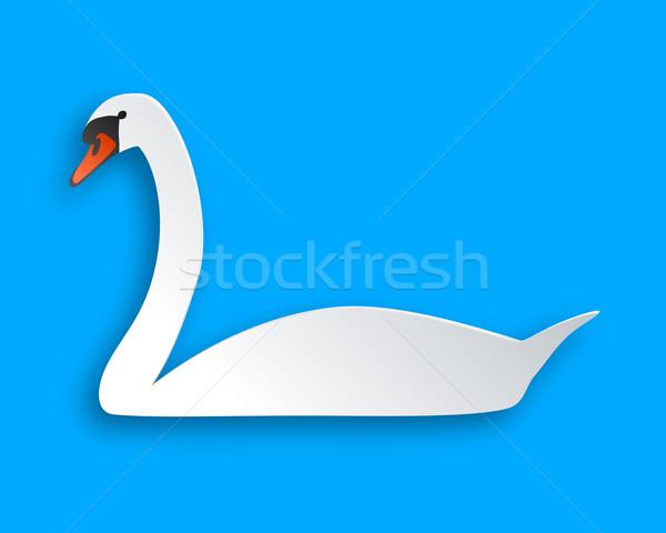 лебедя синий бумаги аннотация фон птица Сток-фото © rbiedermann