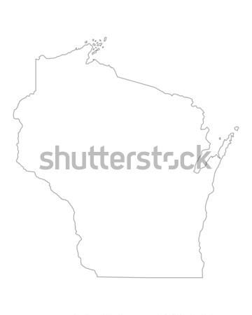 Mapa Wisconsin fundo linha Foto stock © rbiedermann