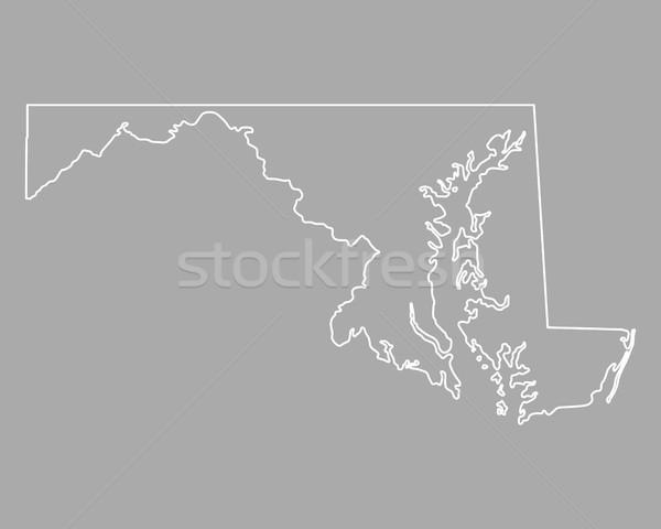Stock fotó: Térkép · Maryland · USA · vektor · izolált · illusztráció