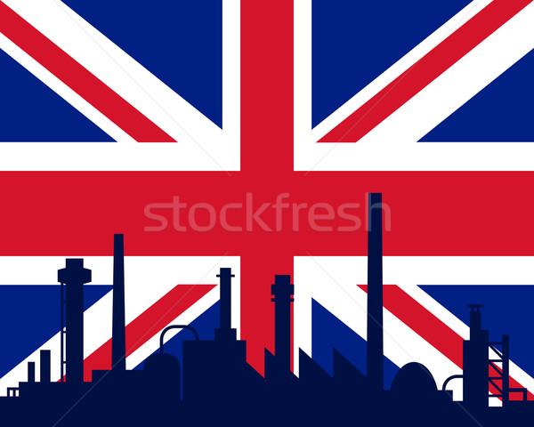 Stockfoto: Industrie · vlag · groot-brittannië · landschap · technologie · stedelijke