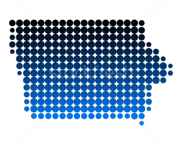 карта Айова синий шаблон Америки круга Сток-фото © rbiedermann
