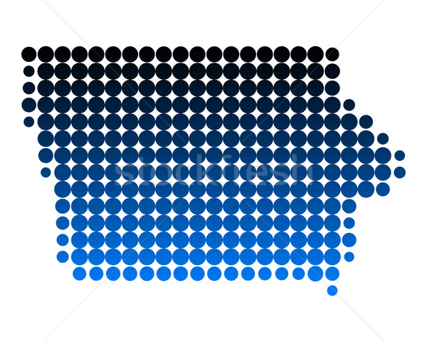 Harita Iowa mavi model Amerika daire Stok fotoğraf © rbiedermann