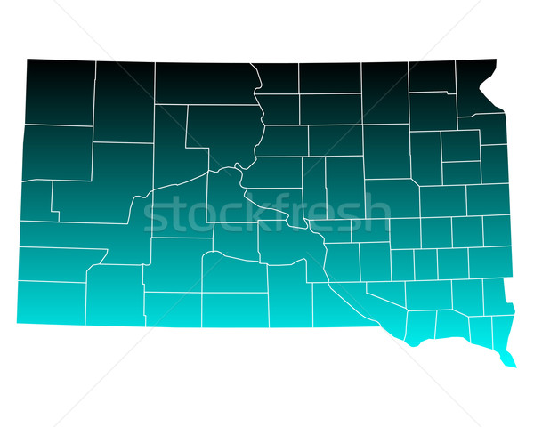 Mapa South Dakota verde azul EUA vetor Foto stock © rbiedermann