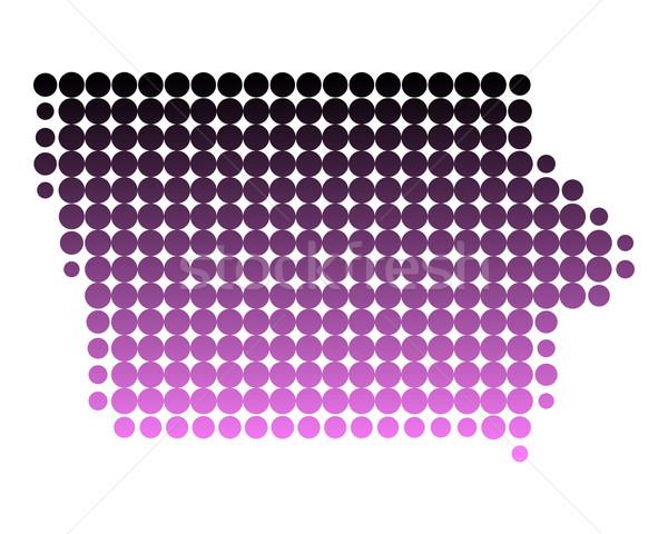 карта Айова шаблон розовый Америки круга Сток-фото © rbiedermann