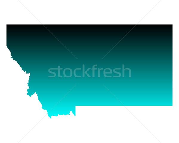 Térkép Montana zöld kék utazás Amerika Stock fotó © rbiedermann