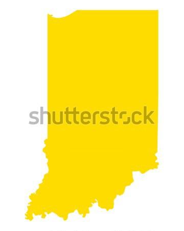 Térkép Indiana utazás Amerika USA izolált Stock fotó © rbiedermann