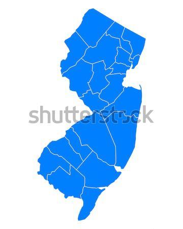 Kaart New Jersey achtergrond Blauw lijn USA Stockfoto © rbiedermann