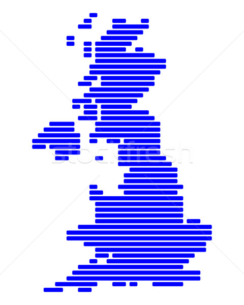 Stockfoto: Kaart · groot-brittannië · Blauw · Engeland · lijn · lijnen