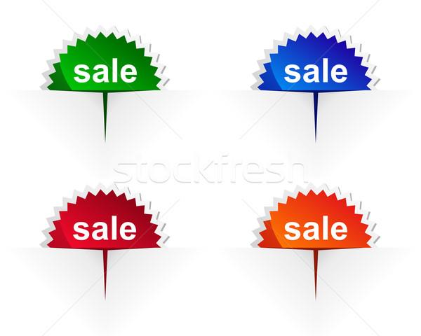Verkauf Label detaillierte genaue Illustration orange Stock foto © rbiedermann