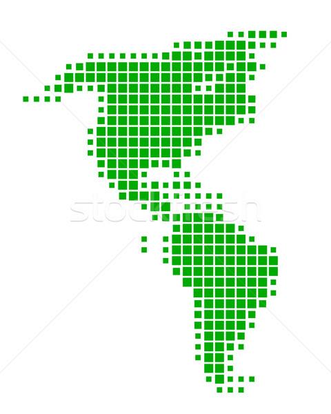 Stok fotoğraf: Harita · Amerika · yeşil · seyahat · model · kare