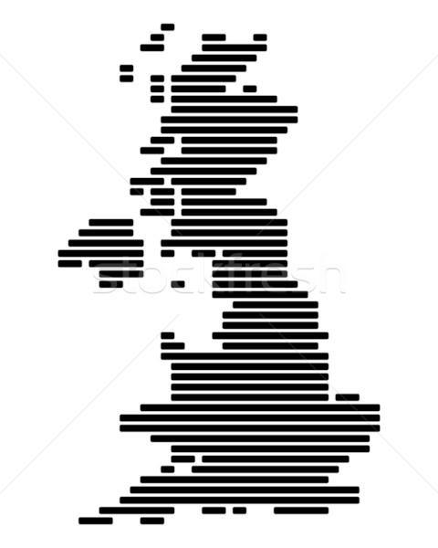Kaart groot-brittannië zwarte Engeland lijn lijnen Stockfoto © rbiedermann