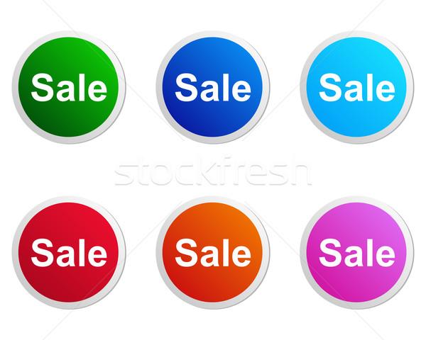 Stockfoto: Verkoop · label · gedetailleerd · nauwkeurig · illustratie · oranje