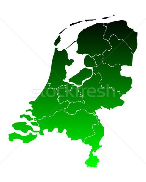 Stock fotó: Térkép · Hollandia · zöld · utazás · keret · izolált
