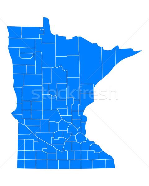 Térkép Minnesota háttér kék utazás vonal Stock fotó © rbiedermann
