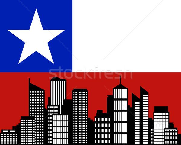 Város zászló Chile épület tájkép sziluett Stock fotó © rbiedermann
