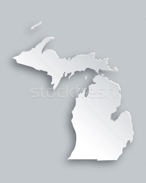 Harita Michigan kâğıt arka plan seyahat kart Stok fotoğraf © rbiedermann