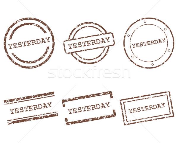 Ieri francobolli lettera timbro grafica tag Foto d'archivio © rbiedermann