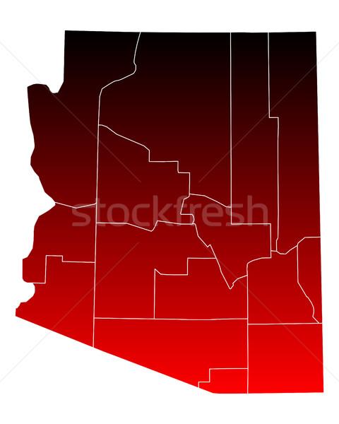 Mapa Arizona viaje rojo EUA aislado Foto stock © rbiedermann