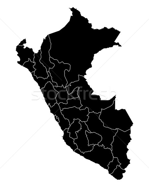 Mapa Perú viaje negro aislado ilustración Foto stock © rbiedermann