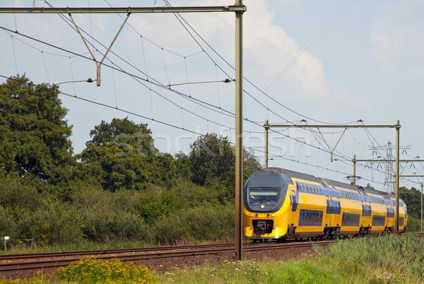 поезд голландский типичный пейзаж синий стали Сток-фото © rbouwman