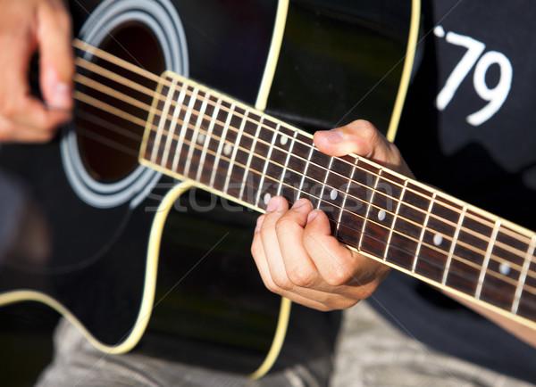 гитаре играет черный концерта инструмент исполнении Сток-фото © rbouwman