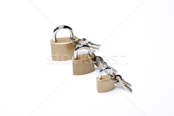 Foto stock: Três · negócio · porta · metal · segurança · chave