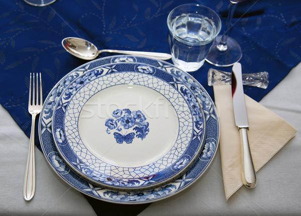 обеденный стол продовольствие вино ресторан обеда пластина Сток-фото © rbouwman