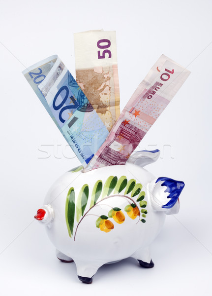 Piggy Bank евро фон окна белый монетами Сток-фото © rbouwman