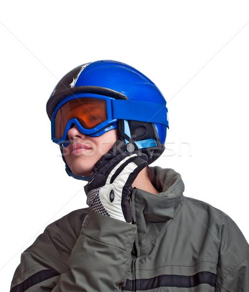 Genç hazır Kayak kask kayış Stok fotoğraf © rcarner